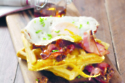 Pumpkin Waffles With Fried Egg And Roasted Bacon Pecan