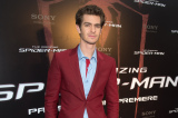 Andrew Garfield wears a burgundy Balenciaga suit