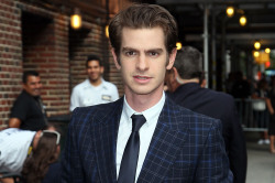 Andrew Garfield arrives at the David Letterman show