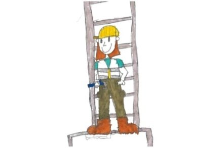 One drawing a child did when asked 'what does a builder look like?'