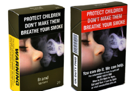 The report is asking to remove all branding from tabacco packaging