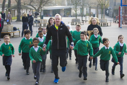Iwan Thomas with the children of Hallfield Primary school in Westminster