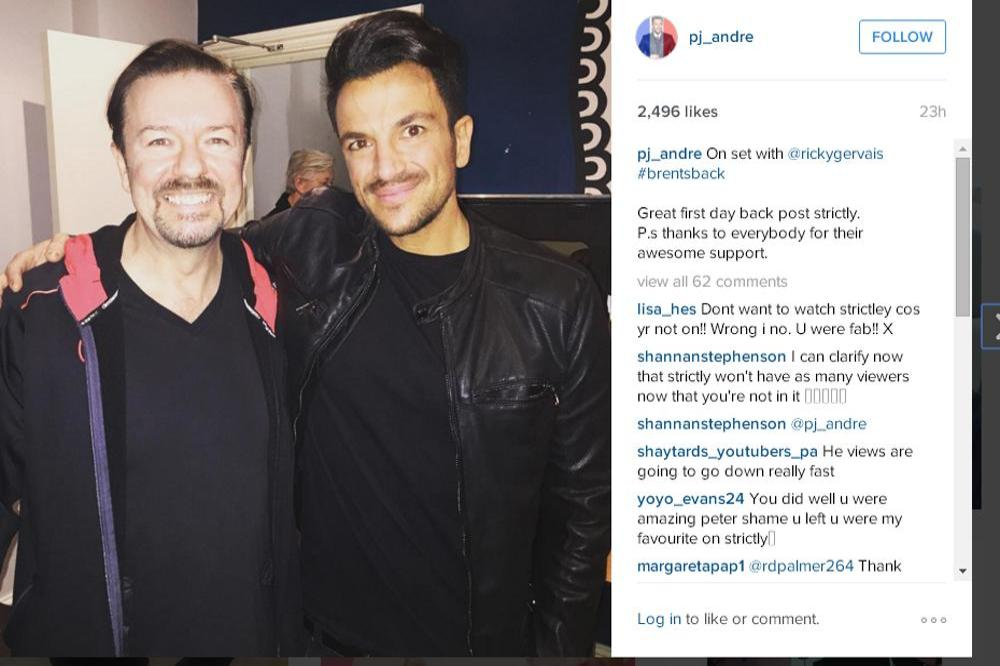 Ricky Gervais, Peter Andre (c) Instagram