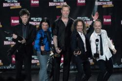 Jason Newsted (far left) with Metallica