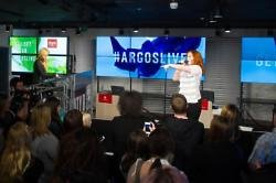 Katy B performing at Argos store