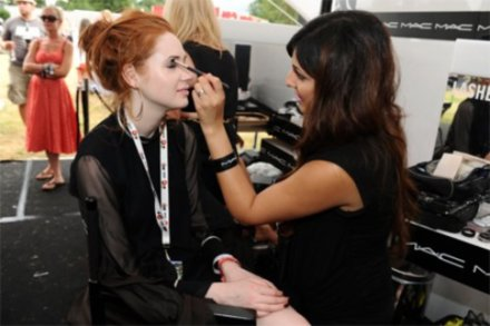 M.A.C make-up artist at last year's Virgin Media Louder Lounge