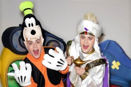 Jedward suit up as Goofy and Aladdin in Hamleys for the launch of 'Disney Universe' the video game