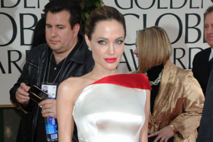 Angelina Jolie in Versace at the Golden Globe Awards