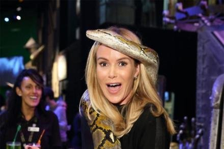 Amanda Holden holding the real snake, a reticulated python, studied by the Visual Effects Department as a basis for some of Voldemort's snake Nagini's