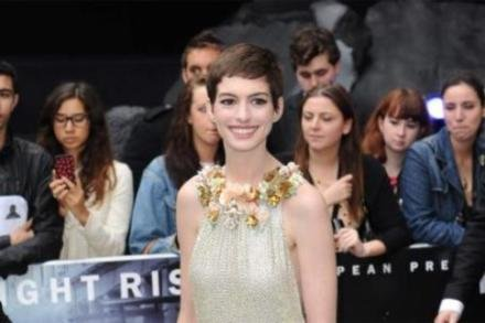 Anne Hathaway at the European premiere of The Dark Knight Rises