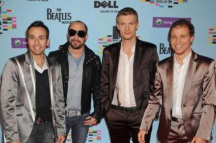 Backstreet Boys with AJ McLean (second left)