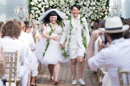 Beth Ditto and Kristin Ogata at their first wedding