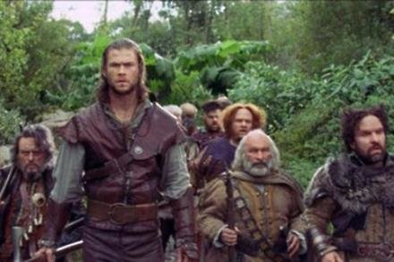 Chris Hemsworth as The Huntsman and the dwarves