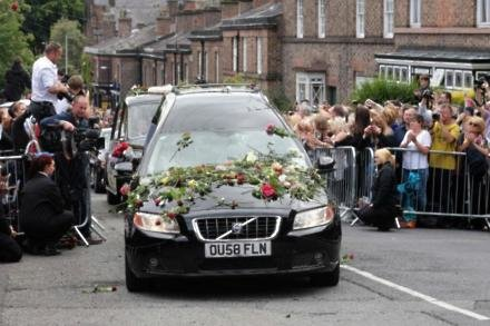Cilla's hearse arriving at St Mary's Church