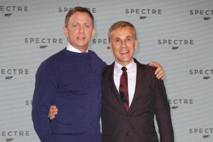 Daniel Craig with Christoph Waltz at SPECTRE announcement