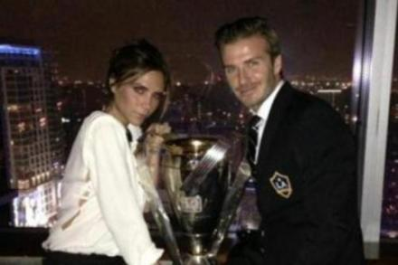 David and Victoria Beckham with MLS cup
