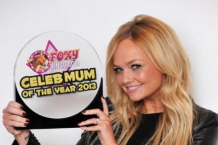 Emma Bunton shows off her Foxy Bingo Celeb Mum of the Year 2013 trophy