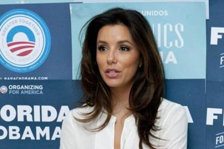 Eva Longoria campaigning for Obama