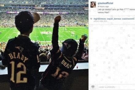 Gisele Bundchen and Tom Brady's children watching the Super Bowl