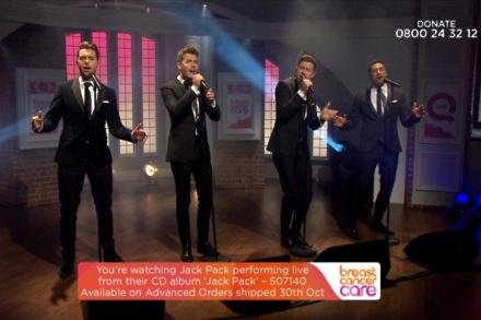 Jack Pack performed live on QVC to raise money for Breast Cancer Care