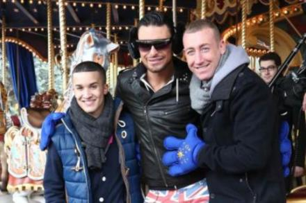 Jahmene Douglas, Rylan Clark and Christopher Maloney at Disneyland Paris