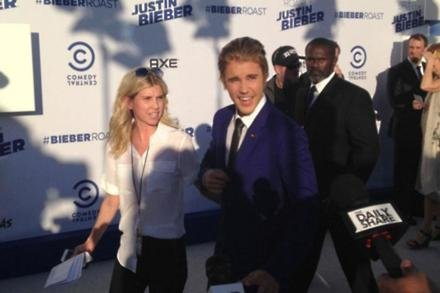 Justin Bieber arriving for his Comedy Central Roast