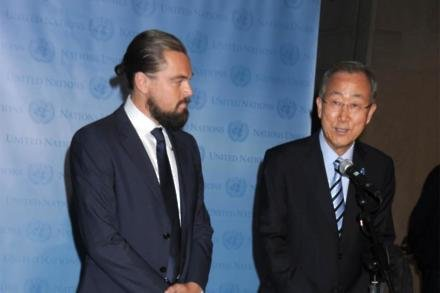 Leonardo DiCaprio and UN Secretary-General Ban Ki-moon