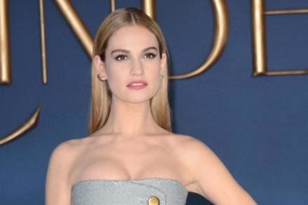 Lily James at the London premiere of Cinderella