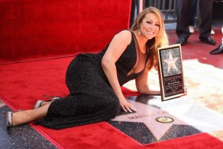 Mariah Carey receiving her star on the Hollywood Walk of Fame