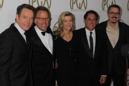 Mark Johnson, Bryan Cranston, Michelle MacLaren, Stewart Lyons and Vince Gilliga of 'Breaking Bad'