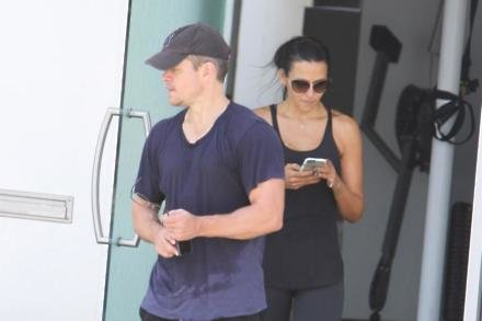 Matt Damon leaving the gym with wife Luciana