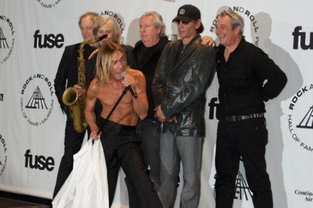 The Stooges members from left to right, Scott Thurston, Steve Mackay, Iggy Pop, James Williamson, Scott Asheton and Mike Watt at their Rock And Roll H