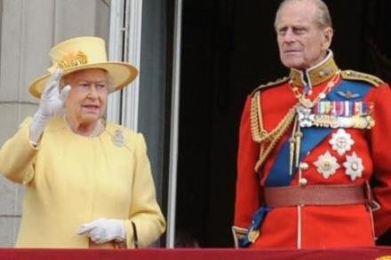 Queen Elizabeth and Prince Philip on the balcony