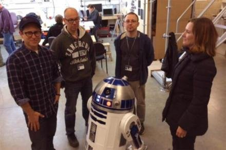 R2-D2 with J.J. Abrams, Lee Towersey and Oliver Steeples