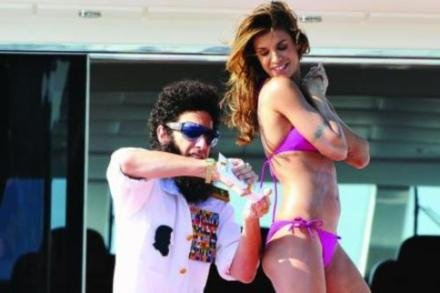 Sacha Baron Cohen and Elisabetta Canalis in Cannes 2012