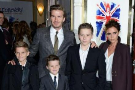 Romeo Beckham with his family