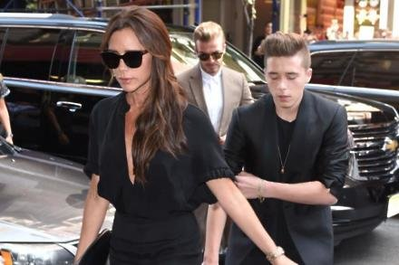 Victoria and David Beckham with son Brooklyn at New York Fashion Week