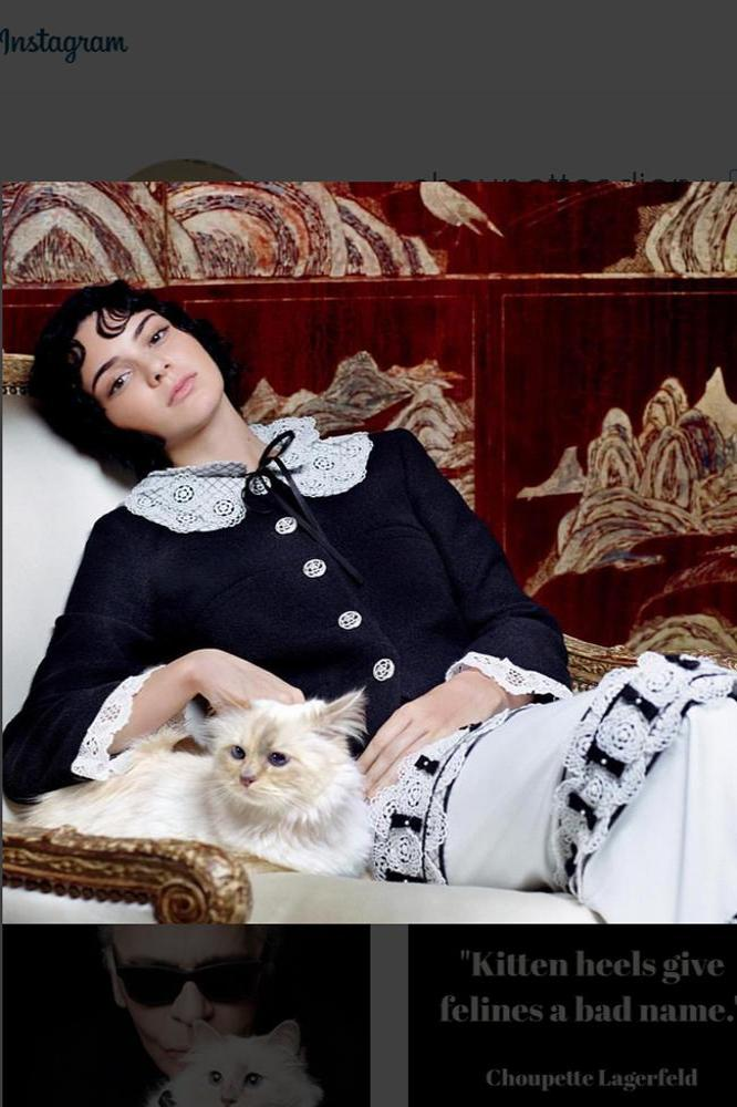 Kendall Jenner poses with Choupette Lagerfeld