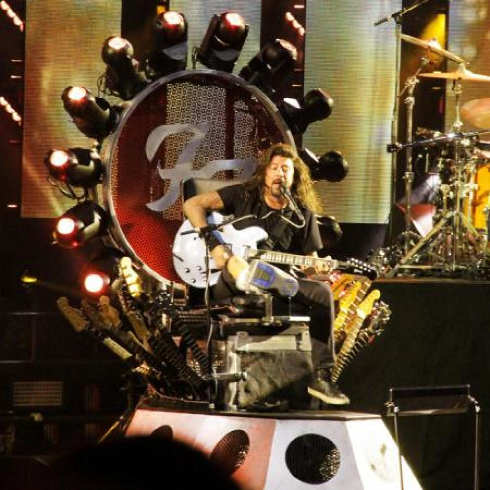 Dave Grohl on stage in Toronto with his broken leg