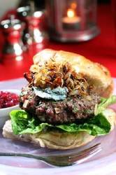 Venison Burger with Blue Cheese and Crispy Shallots