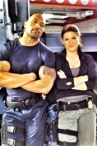 Dwayne Johnson and Gina Carano on the set of Fast and Furious 6