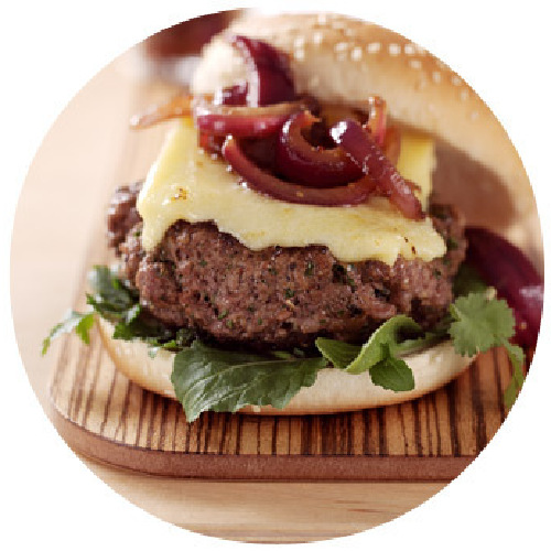 Homemade Burgers with Red Onion Relish